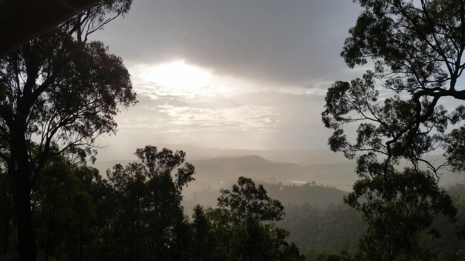 The rain arrives...