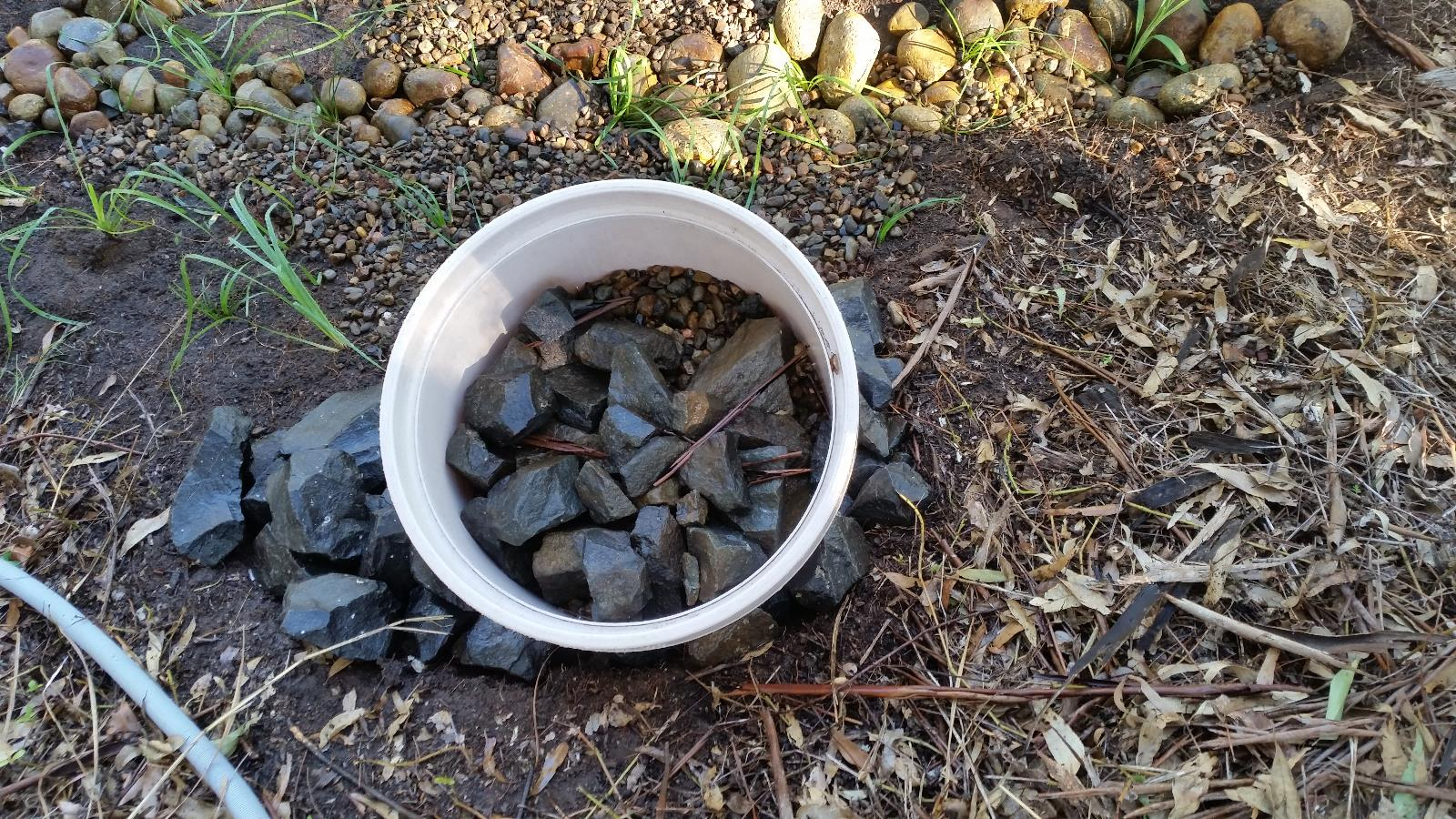 Building Grey Water Filter Pond - Reservoir and Rocks