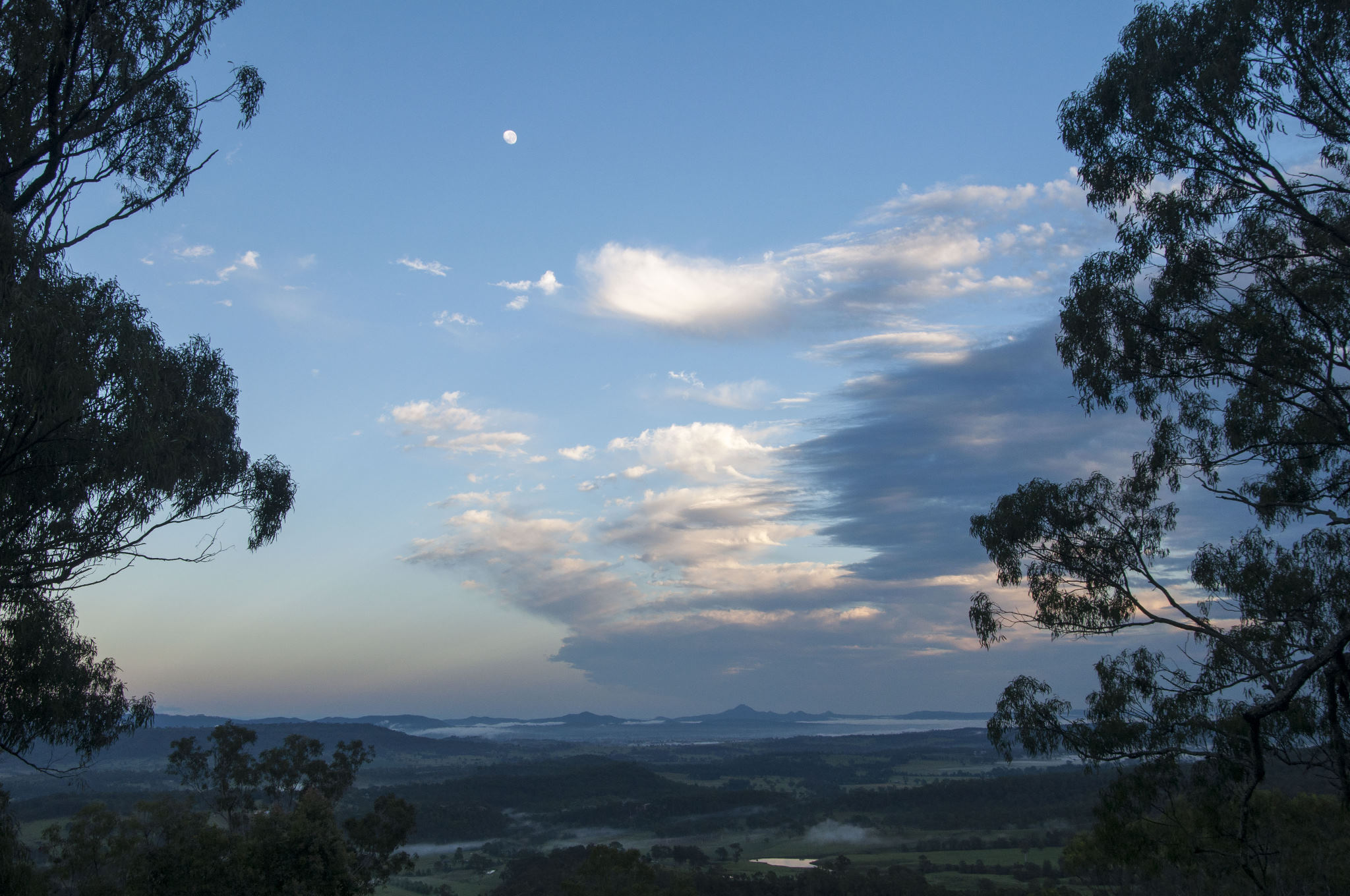 Daylight Moon and Storm passing