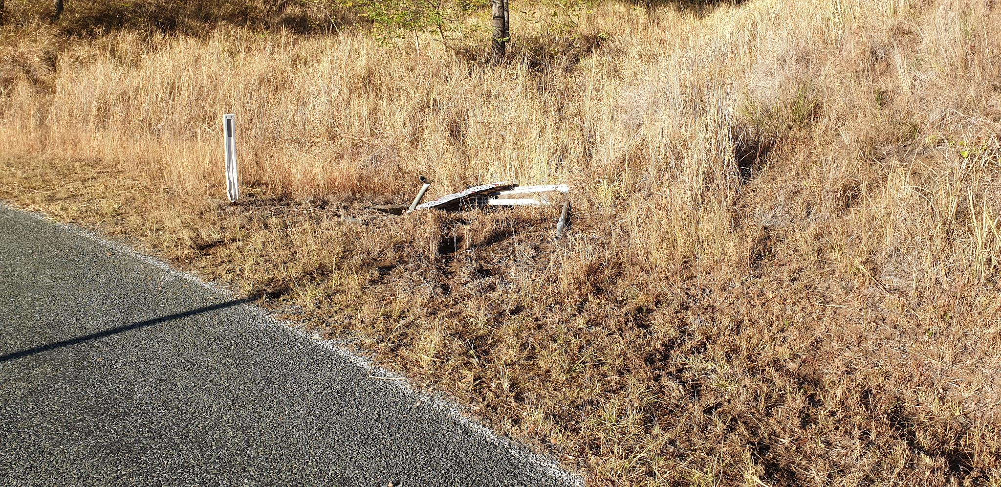 Smashed Road Sign - Lamington National Park Rd